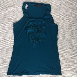The Limited teal sequin Blouse